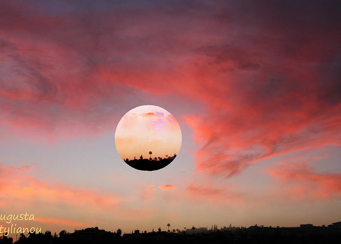 Sunset Greeting Card featuring the digital art Planet And Sunset by Augusta Stylianou