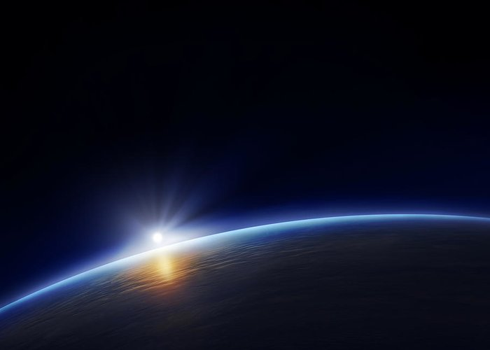 Atmosphere Greeting Card featuring the photograph Planet Earth With Rising Sun by Johan Swanepoel