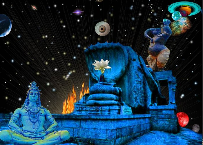 <a> Abstract Greeting Card featuring the digital art Planet Of Shiva by Jason Saunders