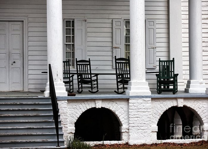 Plantation Porch Greeting Card featuring the photograph Plantation Porch by John Rizzuto