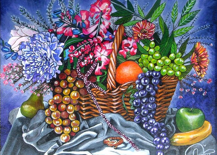 Plastic Fruits And Flowers Greeting Card featuring the painting Plastic Fruits And Flowers by Annette Jimerson