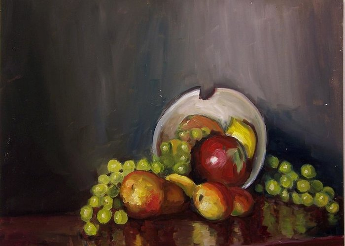 Still Greeting Card featuring the painting Plate With Fruit by Nicolas Bouteneff