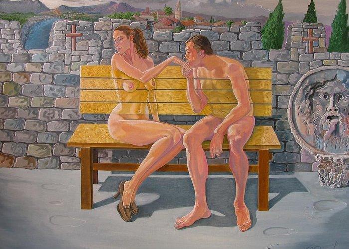 Nude Greeting Card featuring the painting Platonic Love by Ramaz Razmadze