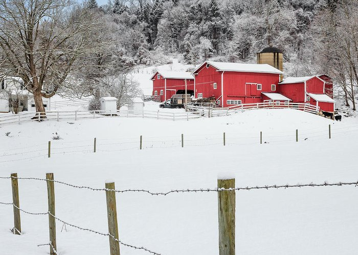 Old Red Barn Greeting Card featuring the photograph Platt Farm Square by Bill Wakeley