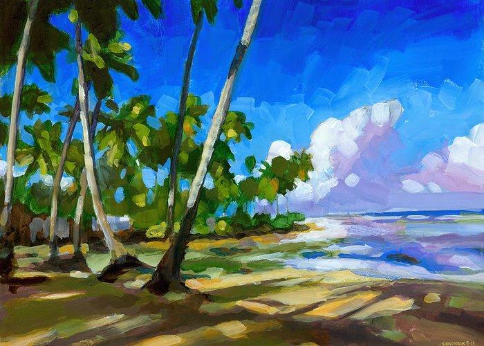 Beach Greeting Card featuring the painting Playa Bonita by Douglas Simonson