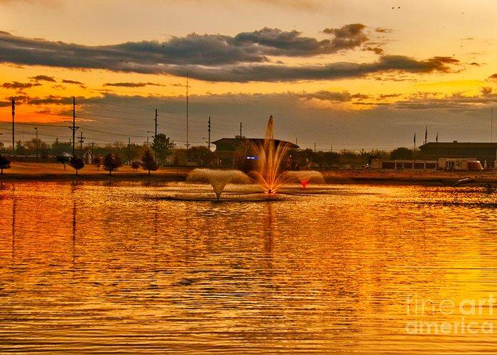 Playa Lake At Sunset In Lubbock Greeting Card featuring the photograph Playa Lake At Sunset by Mae Wertz