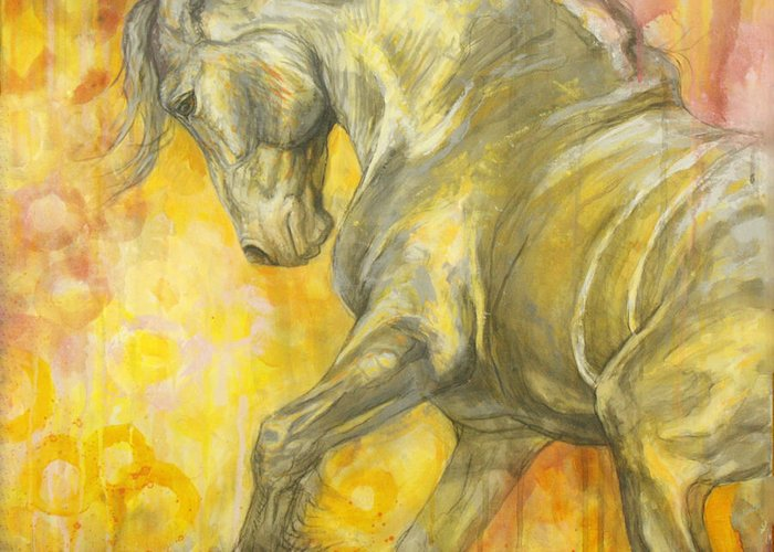 Horse Greeting Card featuring the painting Playful Joy by Silvana Gabudean Dobre