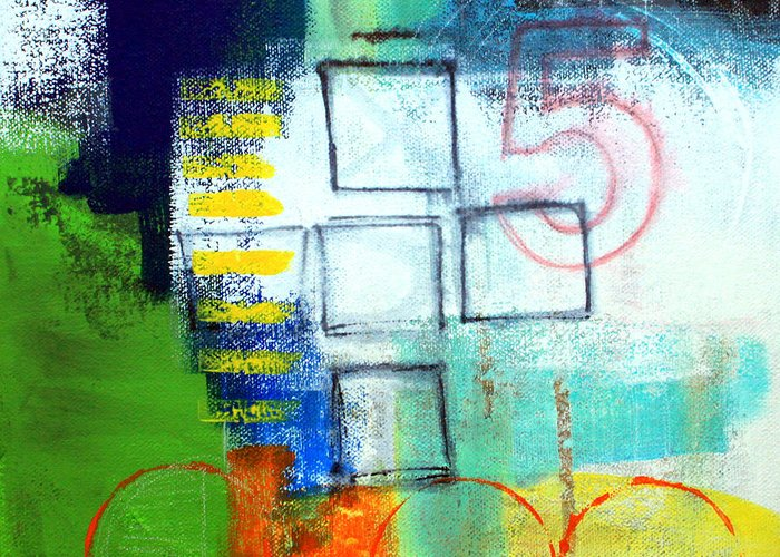 Abstract Greeting Card featuring the painting Playground by Linda Woods
