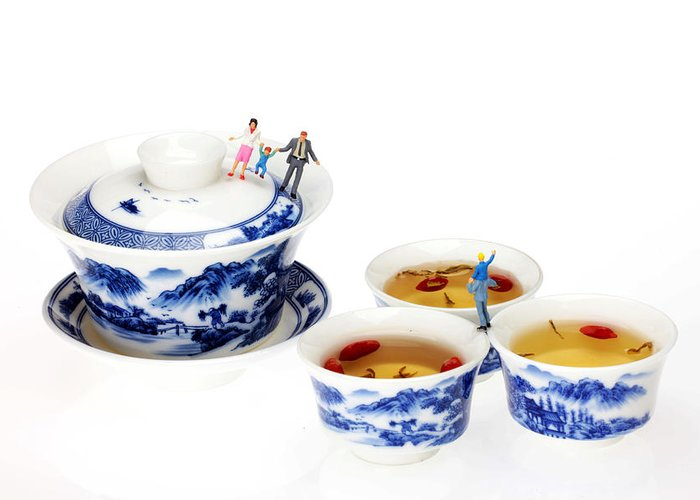 Playing Greeting Card featuring the photograph Playing Among Blue-and-white Porcelain Little People On Food by Paul Ge