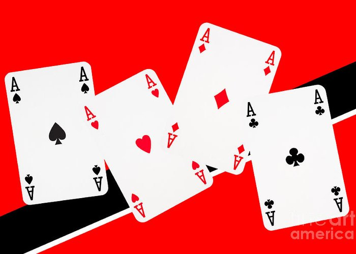 Casino Greeting Card featuring the photograph Playing Cards Aces by Natalie Kinnear