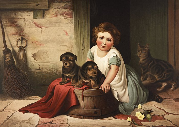 Girl Greeting Card featuring the painting Playing With Friends Circa 1850 by Aged Pixel