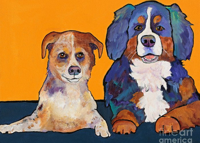 Pat Saunders-white Greeting Card featuring the painting Playmates by Pat Saunders-White