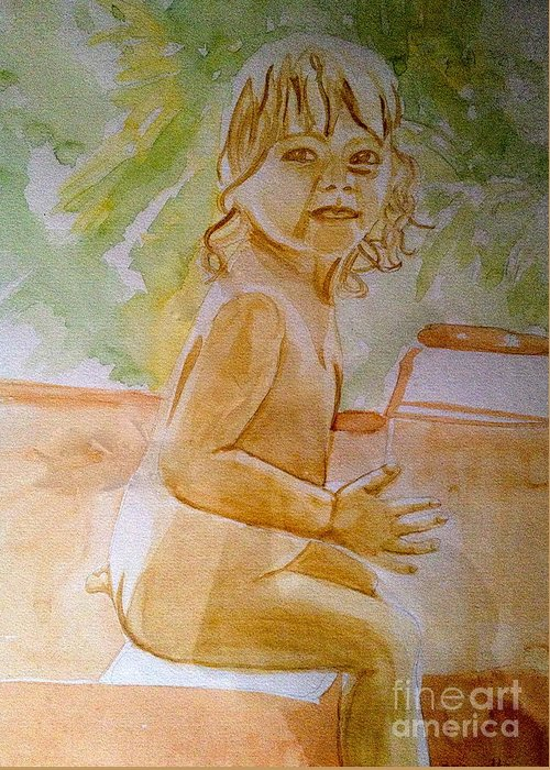 Child Portrait Greeting Card featuring the painting Playtime by Diane Phelps