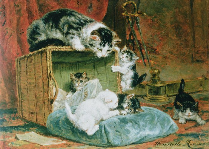 Cat Greeting Card featuring the painting Playtime by Henriette Ronner-Knip