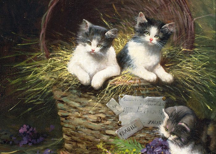 Cat Greeting Card featuring the painting Playtime by Leon Charles Huber