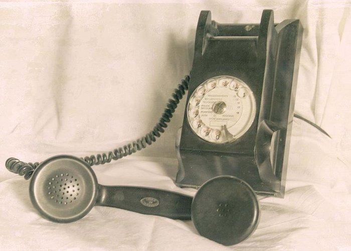 Vintage Telephone Greeting Card featuring the photograph Please Call by Georgia Fowler