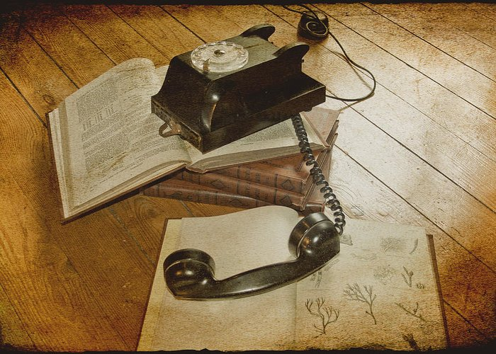 Vintage Telephone Greeting Card featuring the photograph Please Hold by Georgia Fowler