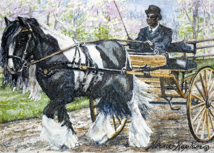 Equine Greeting Card featuring the painting Pleasure Driving by Denise Horne-Kaplan