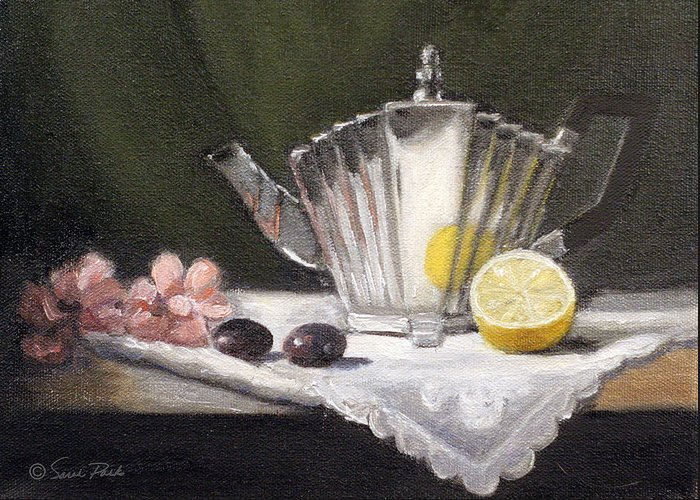 Silver Teapot Greeting Card featuring the painting Pleated Teapot With Lemon by Sarah Parks