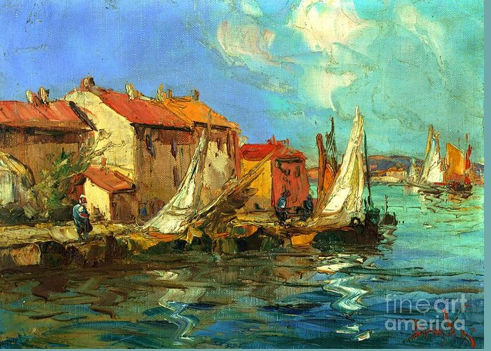 Sail Boats Greeting Card featuring the painting Plein Air One by Michael Swanson