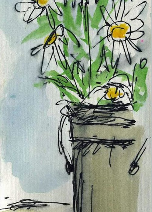 Plein Air Sketchbook. Ventura California 2011. Tall Bucket Of Daisies From My Backyard Cathy Peterson Greeting Card featuring the painting Plein Air Sketchbook. Ventura California 2011. Tall Bucket Of Daisies From My Backyard by Cathy Peterson