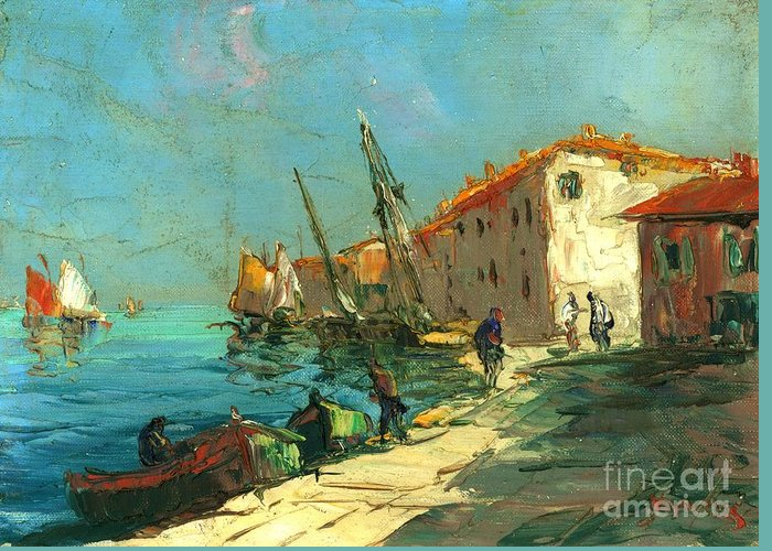Harbour In France Greeting Card featuring the painting Plein Air Two by Michael Swanson