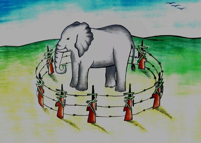 Save Elephants Greeting Card featuring the painting Plight Of Elephants by Tanmay Singh