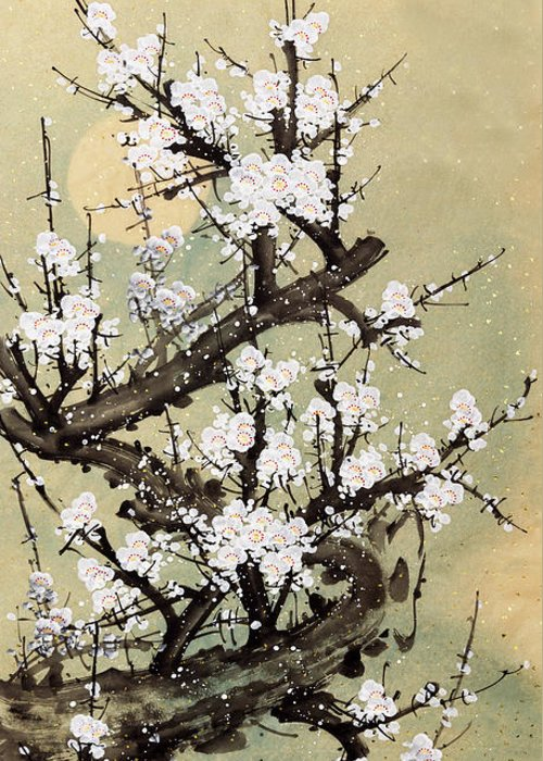 Chinese Culture Greeting Card featuring the digital art Plum Blossom by Vii-photo