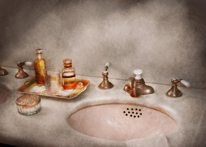 Sink Greeting Card featuring the photograph Plumber - First Thing In The Morning by Mike Savad