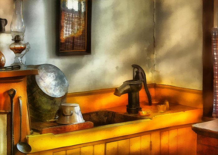 Savad Greeting Card featuring the digital art Plumber - The Wash Basin by Mike Savad