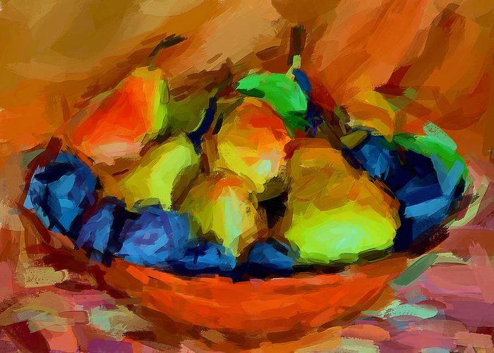 Still Life Greeting Card featuring the digital art Plums And Pears by Yury Malkov