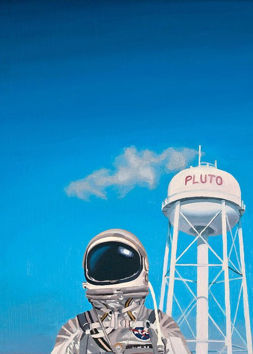 Astronaut Greeting Card featuring the painting Pluto by Scott Listfield
