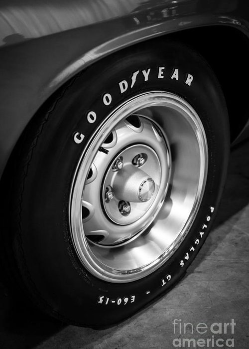 1970 Greeting Card featuring the photograph Plymouth Cuda Rallye Wheel by Paul Velgos