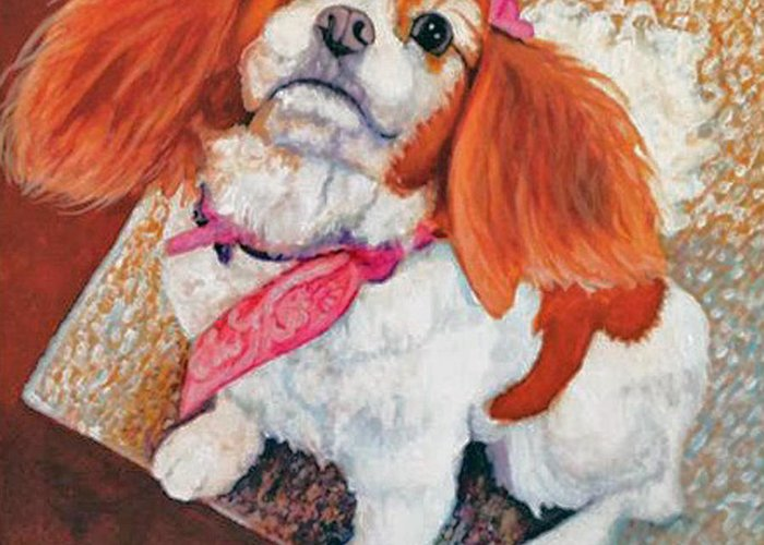 Puppy Girl Greeting Card featuring the painting P'nut Fur Angel In Heaven by Terri Pfister