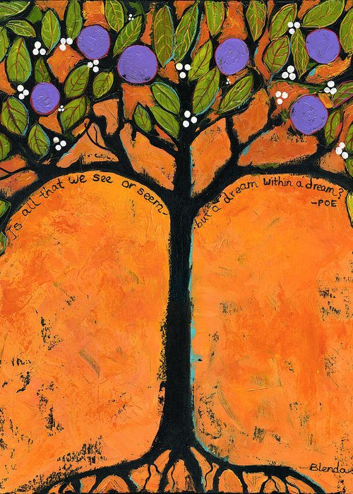 Tree Greeting Card featuring the painting Poe Tree Art by Blenda Studio