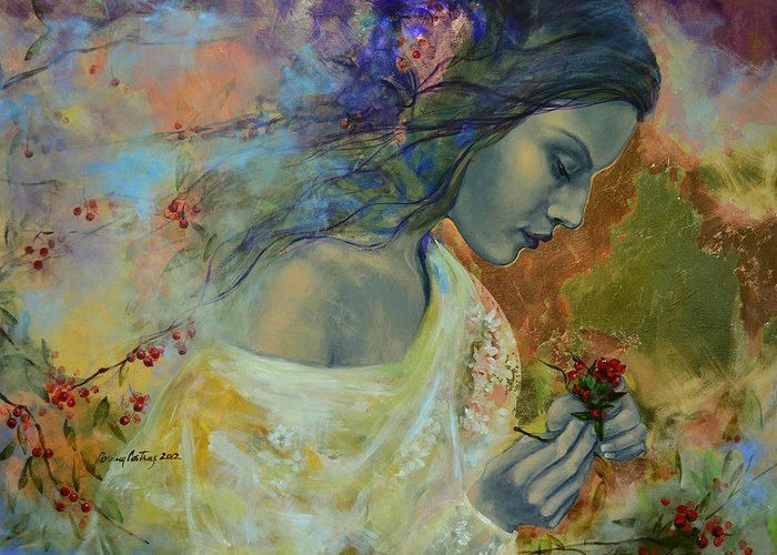 Love Greeting Card featuring the painting Poem At Twilight by Dorina Costras