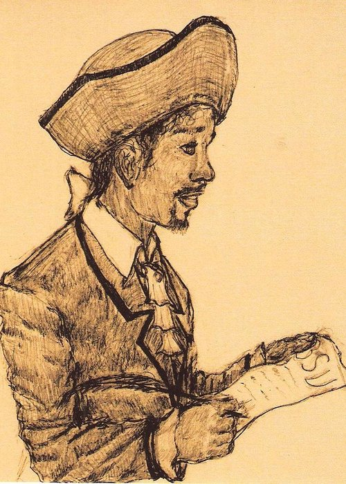 Portrait Greeting Card featuring the drawing Poet by George Harrison