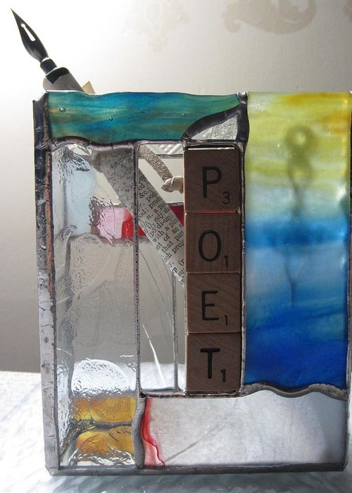 Greeting Card featuring the painting Poet Windowsill Box by Karin Thue