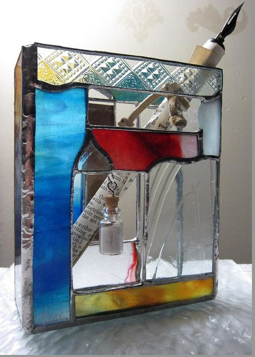 Greeting Card featuring the painting Poet Windowsill Box - Other View by Karin Thue