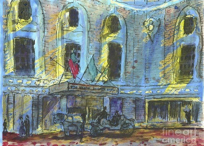 Greeting Card featuring the painting Poinsett Westin Hotek by Patrick Grills