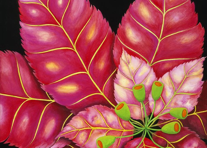 Acrylic Greeting Card featuring the painting Poinsettia by Carol Sabo