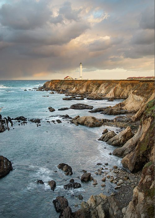 Headland Greeting Card featuring the photograph Point Arena Headland And Lighthouse by Kjschoen