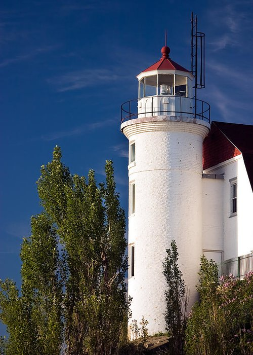 3scape Photos Greeting Card featuring the photograph Point Betsie Lighthouse Michigan by Adam Romanowicz