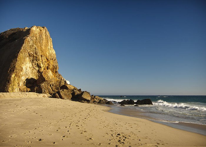 3scape Photos Greeting Card featuring the photograph Point Dume At Zuma Beach by Adam Romanowicz
