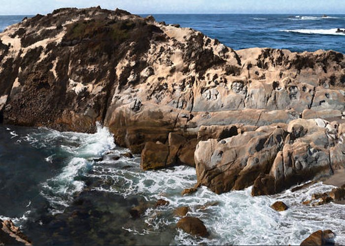 Copyrighted Greeting Card featuring the painting Point Lobos Coast 2 by Mike Penney