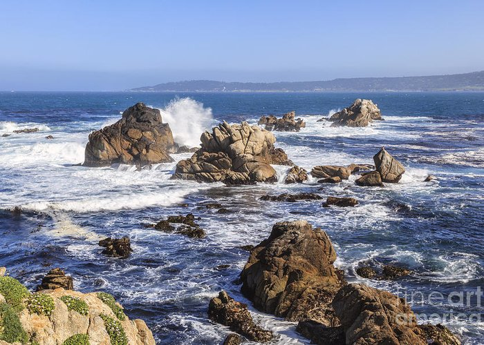 Point Lobos Greeting Card featuring the photograph Point Lobos Rocks And Waves by Ken Brown