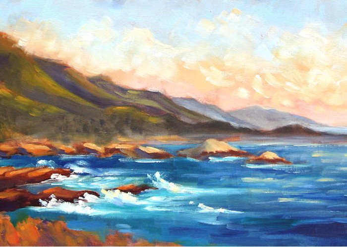 Point Lobos Greeting Card featuring the painting Point Lobos Sunset by Karin Leonard