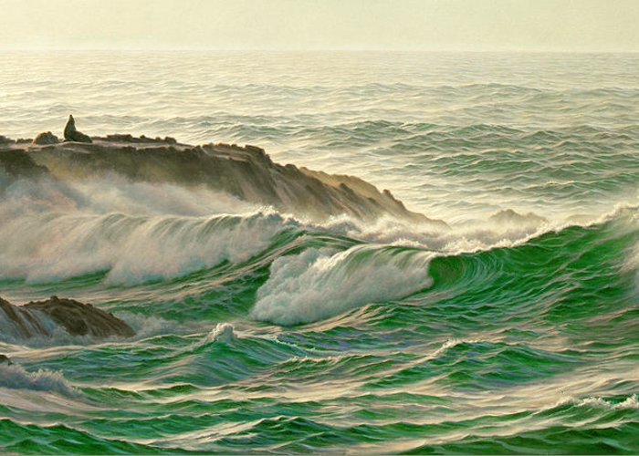 Seascape Greeting Card featuring the painting Point Lobos Surf by Paul Krapf