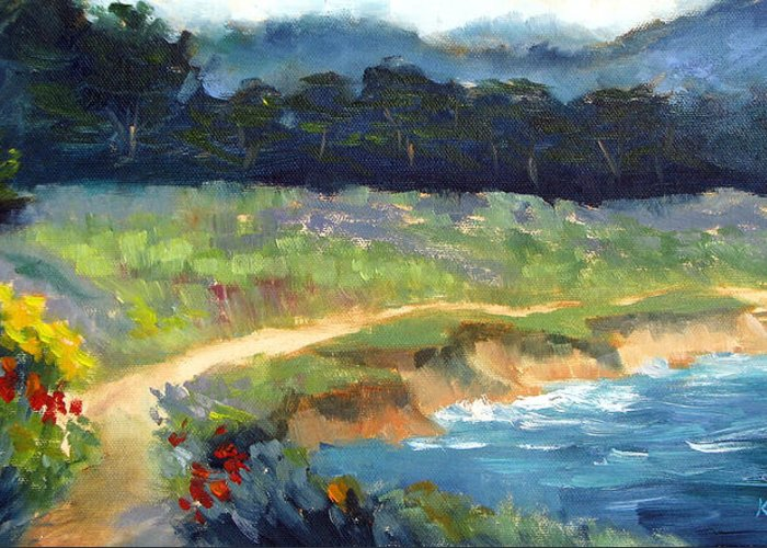 Point Lobos Greeting Card featuring the painting Point Lobos Trail by Karin Leonard