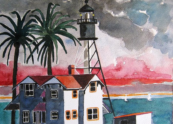 Point Loma Greeting Card featuring the painting Point Loma California by Lesley Giles